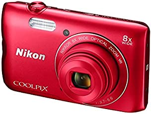 Nikon Coolpix A300 20.1MP Point and Shoot Camera With 8x Optical Zoom With 16GB Card and Camera Case (Red)