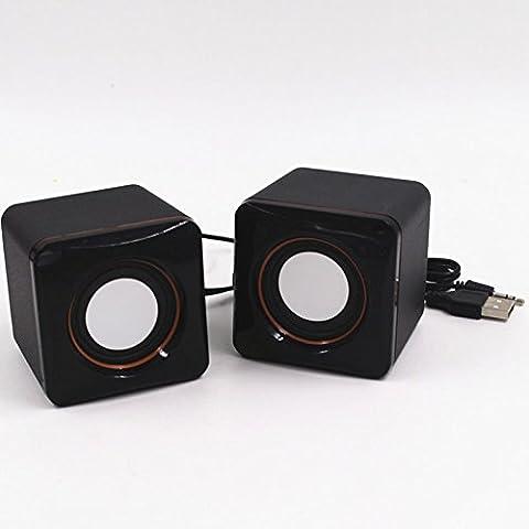 Cewaal Haut-parleurs USB Haut-parleurs multimédia ordinateur avec son stéréo pour PC portables de plusieurs périphériques noir