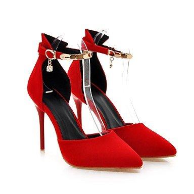 LvYuan Da donna-Sandali-Ufficio e lavoro Formale Serata e festa-Club Shoes-A stiletto-Felpato-Nero Rosso Red