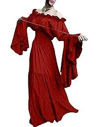 f22009313096 Medievale da Donna Abito Vintage Lunga Swing Abiti Casuale Sciolto Grande  Maxi Abito da Sera Manica