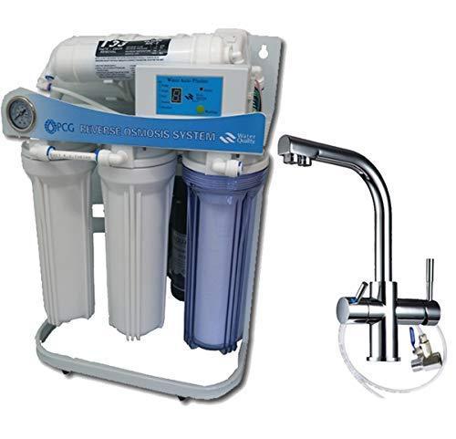 PUR Booster 5 Stufen tanklose Umkehrosmoseanlage + 3-Wege Wasserhahn DELTA (Delta Trinkwasser Wasserhahn)