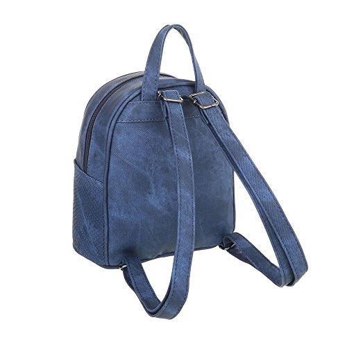 Freizeittasche Rucksack Optik dEsiGn M1094 Kleine Dunkelblau iTal TA In Used Kunstleder Damentasche IOUxw