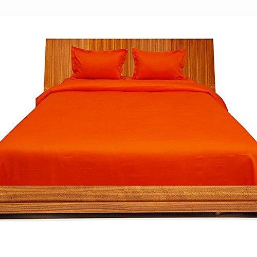 Super weiches Single Ply 650 Fadenzahl, ägyptische Baumwolle, 650 TC Bettlaken oder Oberseite mit Extra Kissenbezug UK King, Orange, 100% Baumwolle, italienisches Design -