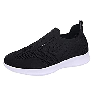 Damen Sneaker Slip-on Sportschuhe Mesh Strick Atmungsaktiv Straßenlaufschuhe Gym Fitness Laufschuhe Freizeitschuhe Bequem Schnürer rutschfest Schuhe