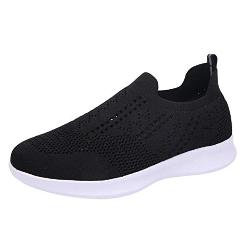 WOZOW Espadrilles Respirantes en Mesh Respirant à La Mode Estivale pour Femmes Hommes Basket Chaussures De Sports Course Sneakers Fitness Gym Athlétique Multisports Outdoor (Noir,38)
