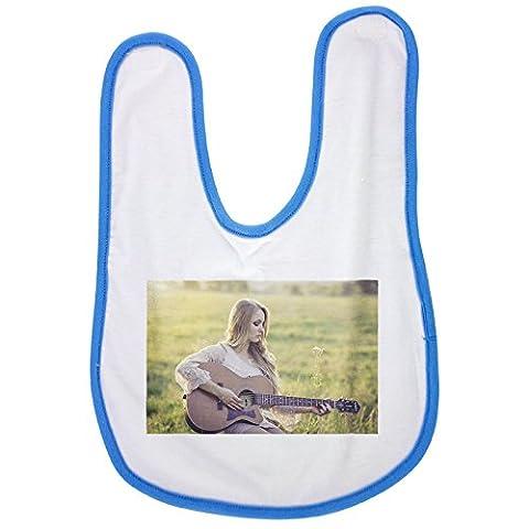 Country, Guitar, Girl, Music, Instrument baby bib in blue (Guitar Music Bib)