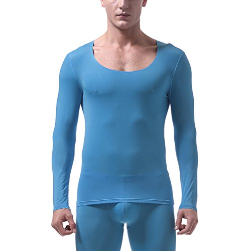 Blau Thermal Long Sleeve Top (Zhuhaitf Herren unterhemd langarm weiss schwarz hautfarben Soft Breathable Comfortable Thin Non-trace Ice Silk Compression Baselayer Thermal Long Sleeve Top Undershirt T Shirt Underwear)
