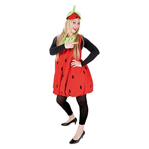 Erdbeerkostüm rot-schwarz für Erwachsene | Einheitsgröße | Einteiler Obst Kostüm mit Hut | Frucht Kostüm Unisex Faschingskostüm | Erdbeer (Obst Hüte)