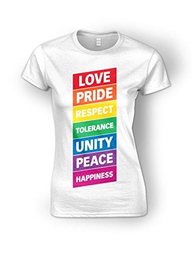 Love Pride Respect Tolerance Unity Peace Happiness Rainbow Gay Lesbian Womens Ladies T-Shirt - Colour Options (S-XXL)