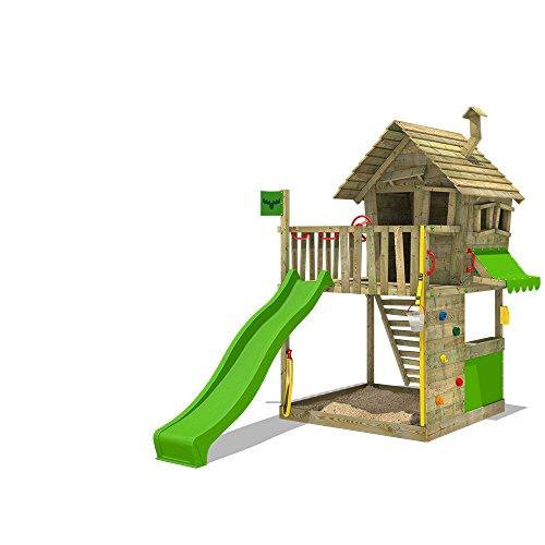FATMOOSE Spielturm GroovyGarden Combo XXL Stelzenhaus Spielhaus auf Podest mit Holzdach, Kletterwand, Rutsche und integriertem XXL Sandkasten