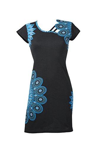 Ethno Kleid mit femininen Details und bunten Stickereien – 100% Baumwolle - SUNDARI (XXL) (Ausgefallenes Kleid Hippie)
