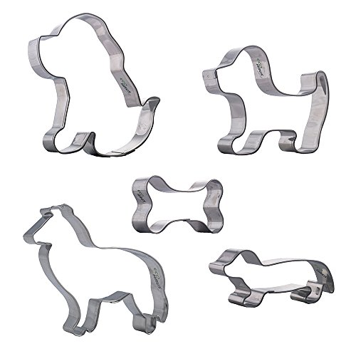 Eco Haus Living Ausstechform Hund – 5 stc. Edelstahl geformter Hundeknochen Keksschneider  – leicht zu reinigen – Ideal für Keks Obst Fondant Cookie Teig Brod