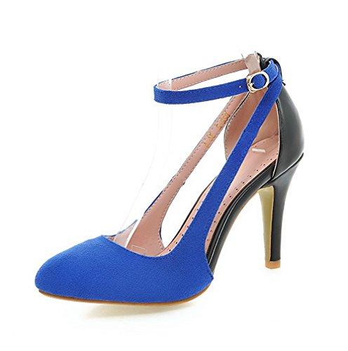 AllhqFashion Damen Weiches Material Rund Zehe Hoher Absatz Schnalle Pumps Schuhe Blau