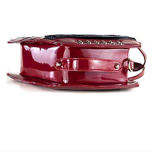 Patent Leather Fisarmonica Handbag PU musica a tema intagliato donne Spalla Borse Portable , Red Red