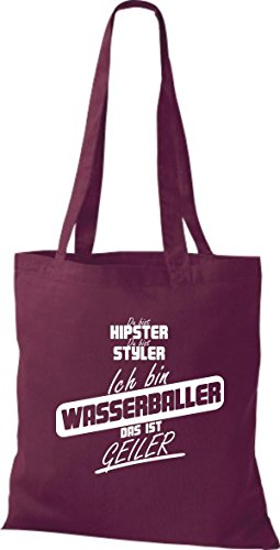 Shirtstown Stoffbeutel du bist hipster du bist styler ich bin Wasserballer das ist geiler weinrot