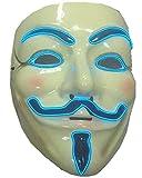 ERGEOB Herren EL Licht Maske V for Vendetta blaues Licht