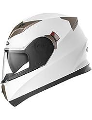 Motorradhelm Integralhelm Rollerhelm Fullface Helm - YEMA YM-829 Sturzhelm ECE mit Doppelvisier Sonnenblende für Damen Herren Erwachsene-Weiß-L
