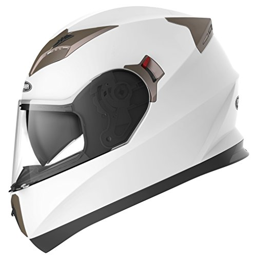 Motorradhelm Integralhelm Rollerhelm Fullface Helm - YEMA YM-829 Sturzhelm ECE mit Doppelvisier Sonnenblende für Damen Herren Erwachsene-Weiß-S