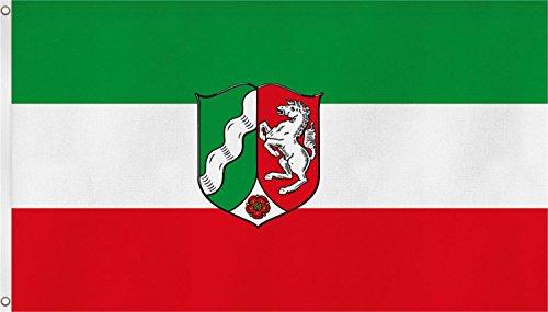normani Bundesland Fahne, Grösse: ca. 90x150 cm, Ordentliche Qualität - Keine hauchdünne Ware - Stoffgewicht ca. 90 gr/m2, Reissfest, für Aussenbereich geeignet Farbe Nordrhein-Westfalen