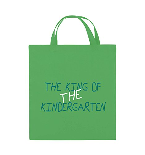 Comedy Bags - The king of the Kindergarten - Jutebeutel - kurze Henkel - 38x42cm - Farbe: Schwarz / Weiss-Neongrün Grün / Türkis-Weiss