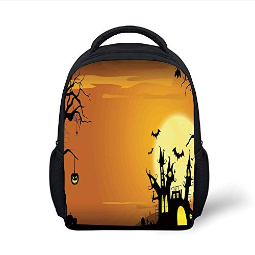 Kids School Backpack Halloween Decorations,Gothic Haunted House Bats Western Spooky Night Scene with Pumpkin,Orange Black Plain Bookbag Travel Daypack