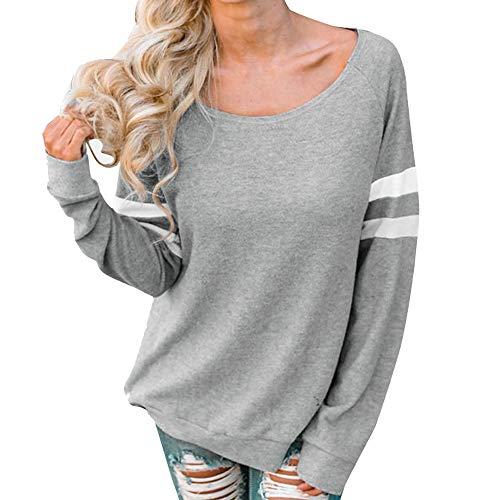Eaylis Damen Einfarbiges Langarm-T-Shirt Einfarbiges, GroßEs Damen-T-Shirt Mit Rundhalsausschnitt Und Langen ÄRmeln -
