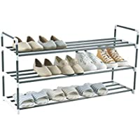 Knight 3 Tier Heavy Duty Metal Shoe Rack, Quick Assembly No Tools Required, Holds upto 15 pairs (3 Tier: (L) 90cm x (W) 29.5cm x (H) 53cm)