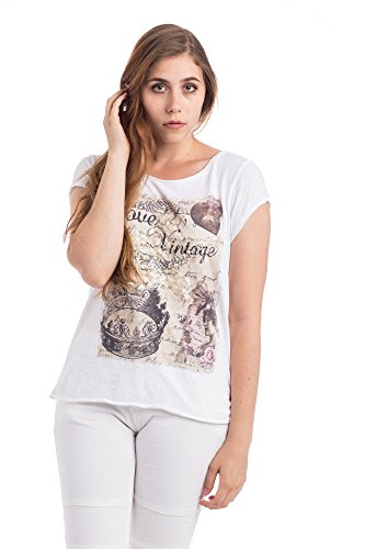 Abbino Damen Shirts Tops - Made in Italy - Rundhals Taillenlang Flügelärmel Kurzarm 1/4 Arm Sommer Uni Unifarben Sale Basics Tshirts T Damenshirts Damentops Feminin Regular Fit Freizeit Weiss (Art. 0797)