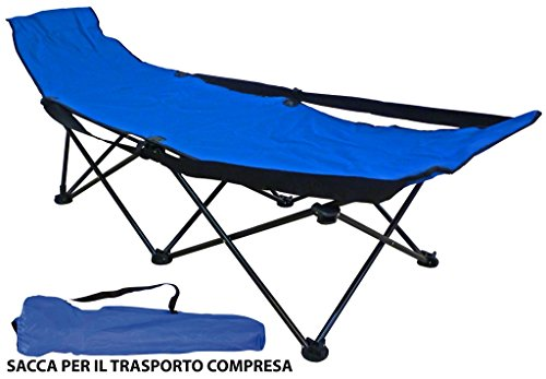 Lettino brandina pieghevole blu da spiaggia mare campeggio con sacca trasporto