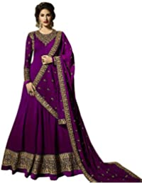 22c67e3a26 AnK Women's Georgette Long Anarkali Semi Stitched Salwar Suit With Dupatta