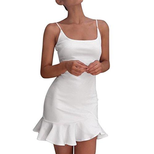 Kleid Damen,Binggong Frauen Dame Sexy Off Schulter Sleeveless Minikleid Rüschen Unregelmäßiges Kleid Reizvolle Hosenträgerkleid Elegant Kurzes Kleid Mode Mini Kleid Schlank Party Kleid (XL, Weiß)