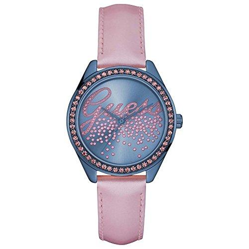 Guess Damen Analog Quarz Uhr mit Leder Armband W0161L3