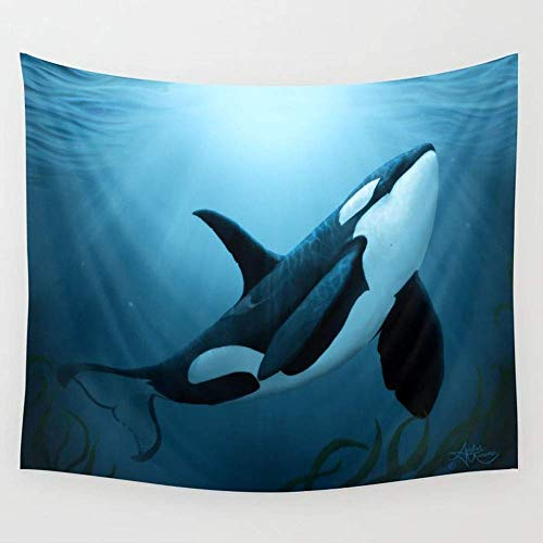 DHFISE Tapisserie The Dreamer by Amber Marine Orca Killer Whale Art Copyright 2015 Wall Tapestry Hanging Tapestries Wall Art for Living Room Bedroom Dorm Decor 80X60 inches -