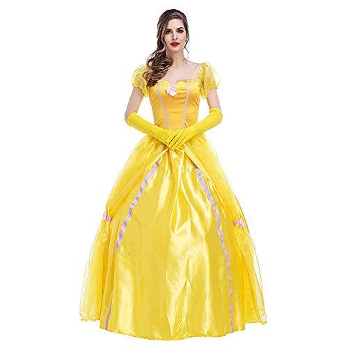 CHIYEEE Damen Märchen Prinzessin Kleid Halloween Party Königin Kostüm für Frauen Gelb XXL (Dame Peter Pan Disney Kostüm)