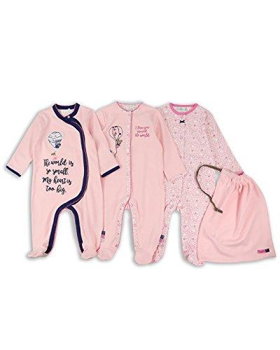 The Essential One - Bebé Niñas Globo Pijama - Paquete de 3 - Rosado - Primera...