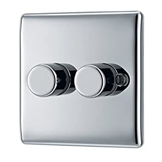 BG Electrical NPC82P Nexus Metal Polished Chrome 2 Gang 2 Way Push On/Off Dimmer Switch 400W