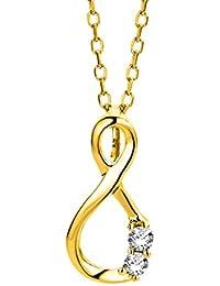 Miore Damen Gelbgold Diamant Halskette und Unendlichkeit Anhänger 9KT (375) mit Brillanten 0.05 ct von 45 cm Goldkette