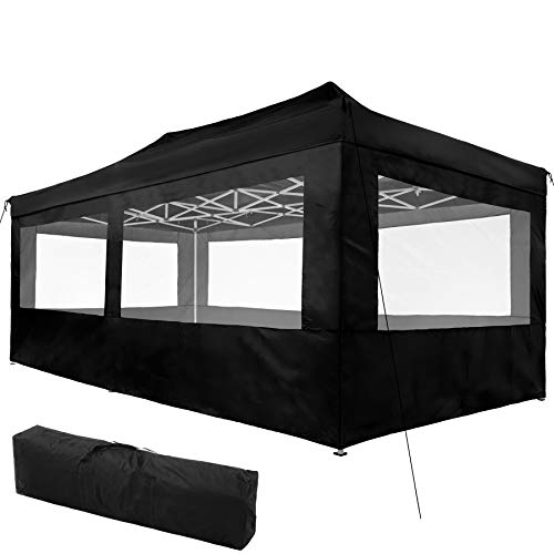 TecTake 800688 Carpa de Jardín 6 x 3m, Plegable, Aluminio, 100% Impermeable, 4 Paneles Laterales, con Cuerdas Tensoras, Piquetas y Bolsa (Negro   no. 403164)