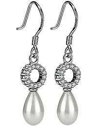 Pendientes de perlas de plata de ley 925Drop Ear Stud Pendientes Joyería Natural en forma de lágrima perlas de novia boda pendientes con