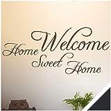 Exklusivpro Wandtattoo Spruch Wand-Worte Welcome Home Sweet Home inkl. Rakel (wrt03 schwarz) 100 x 45 cm mit Farb- u. Größenauswahl