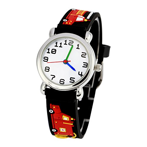 Kinderuhr Silikon Armband Uhr Wasserdichtes 3D lieblich Tiere Cartoon Digital Armbanduhr Zeit Lehrer Geschenk für Kinder kleine Mädchen Jungen (Schwarz Feuerwehrauto)