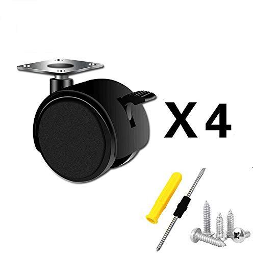 composant de mobilier [4 PièCes] roulettes/Poulie Universelle avec Frein/roulettes Plates - Trois Tailles Disponibles