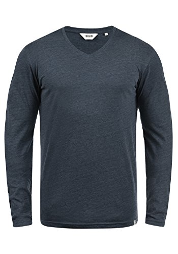 !Solid Beda Herren Longsleeve Langarmshirt Shirt Mit V-Ausschnitt, Größe:S, Farbe:Insignia Blue Melange (8991)