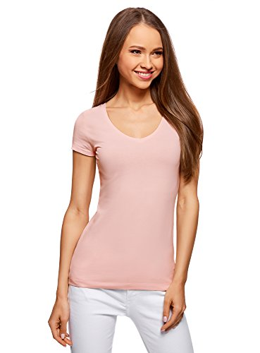 oodji Collection Donna T-Shirt Basic con Scollo a V Senza Etichetta Rosa (4000N)