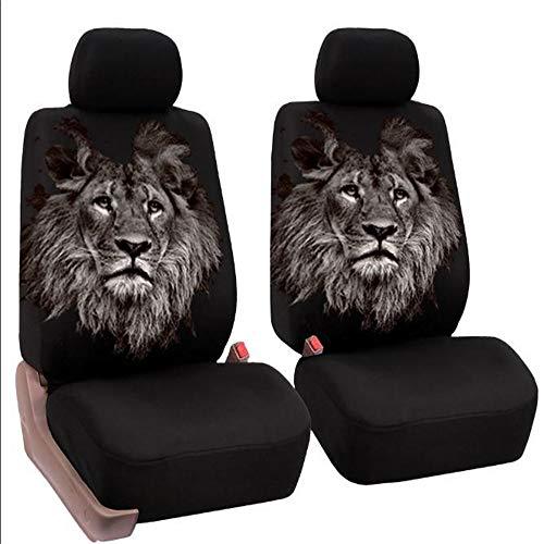 ZJWZ Car Seat Cover Front Seat 2 Pack Cartoon Druck Universal Mesh atmale geeignet für Autos, Vans, MPVs 4x4s, SUVs, MPV,Lion (Sitzbezug Für Mazda Suv)