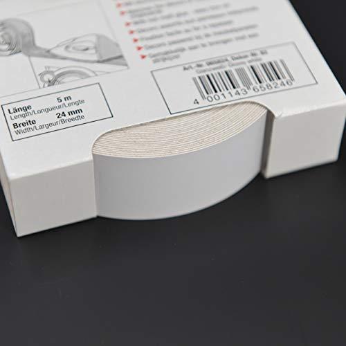 Melaminkantenumleimer in Weiß Hochglanz 24 mm x 5 m Rolle Umleimer in Glanzweiß bzw. weiss glänzend, glatt und strukturlos, Kantenumleimer inkl. Schmelzkleber für Regalböden und Möbelbauplatten