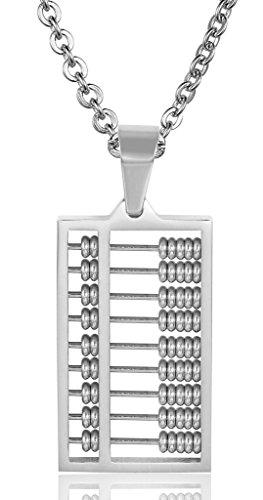 Aienid Damen Anhänger Halskette Aus Edelstahl Mini-Abacus-Chain Link Silber 17Mmx9Mm (Indische Abacus)