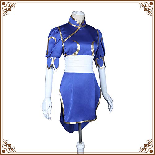 ZQ Top Street Fighter Chun Li Cosplay Cosplay Kostüm Dunkelblau,XL