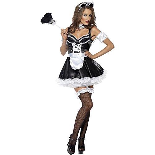 Smiffy's - Damen Super Sexy Flirty Französische Maid Kostüm Rocky Horror Picture Show - Schwarz Weiß, - Super Sexy Französisch Maid Kostüm