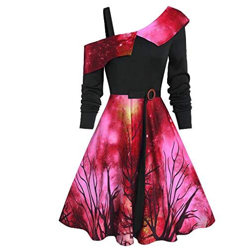 Zottom Damen Herbst und Winter Damenkleider Weihnachtskleider Weihnachtskarneval Kostüme Urlaub Cocktailkleider Abendkleider Spitzenkleider(rot,XXX-Large)
